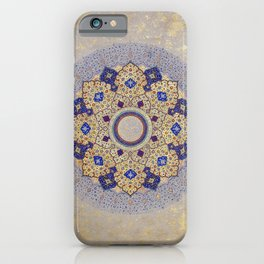 Colorful Gold and Blue Indian Shamsa iPhone Case