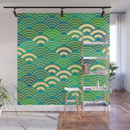 abstract scales simple Spring Nature background with japanese circle Wall Mural