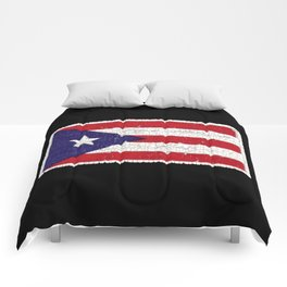 Puerto Rican flag with distressed textures Comforters