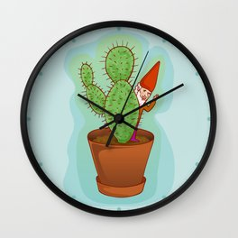 fairytale dwarf with cactus Wall Clock