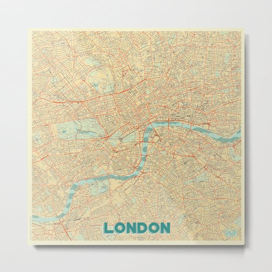 London Map Retro Metal Print