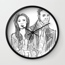 elementary: holmes and watson (sketch) Wall Clock