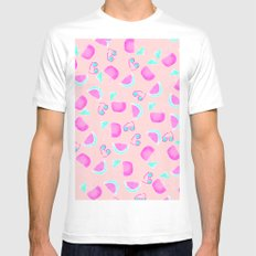 Modern summer tropical watercolor pattern pink turquoise watermelon coconut sunglasses illustration Mens Fitted Tee MEDIUM White