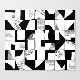 Black and White Typographical Fragmentation Cheater Quilt Canvas Print