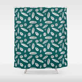 Many Autumn Plant Seeds Pattern in Green Shower Curtain