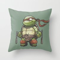 tmnt Throw Pillows featuring TMNT by jeremiah cortez