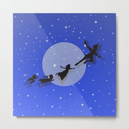 Peter Pan Magical Night Metal Print