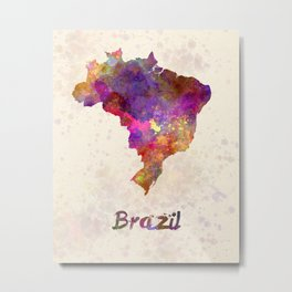 Brazil in watercolor Metal Print