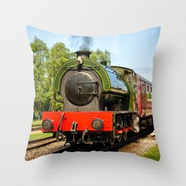 Steam locomotive at Rowsley  Throw Pillow