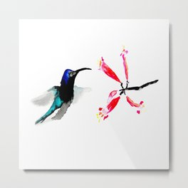 Hummingbird and Honeysuckle Metal Print