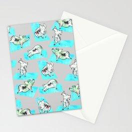 Aqua Yoga Pigs - Downward Facing Hog Stationery Cards