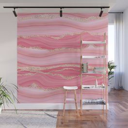 Blush Pink And Gold Marble Stripes Wall Mural