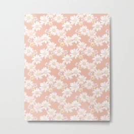 White and Blush Pink Blooming Daisies Metal Print