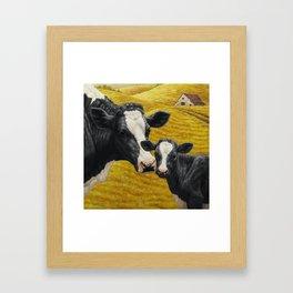 Holstein Cow and Cute Calf Framed Art Print