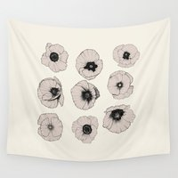 poppy Wall Tapestries featuring poppy by NOA ALON ART