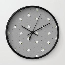 Gardenia pattern grey Wall Clock