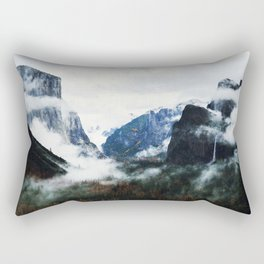 Cloudy Forest Great Outdoors Mountains Photography Rectangular Pillow