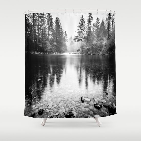 Forest Reflection Lake - Black and White  - Nature Photography by cascadia