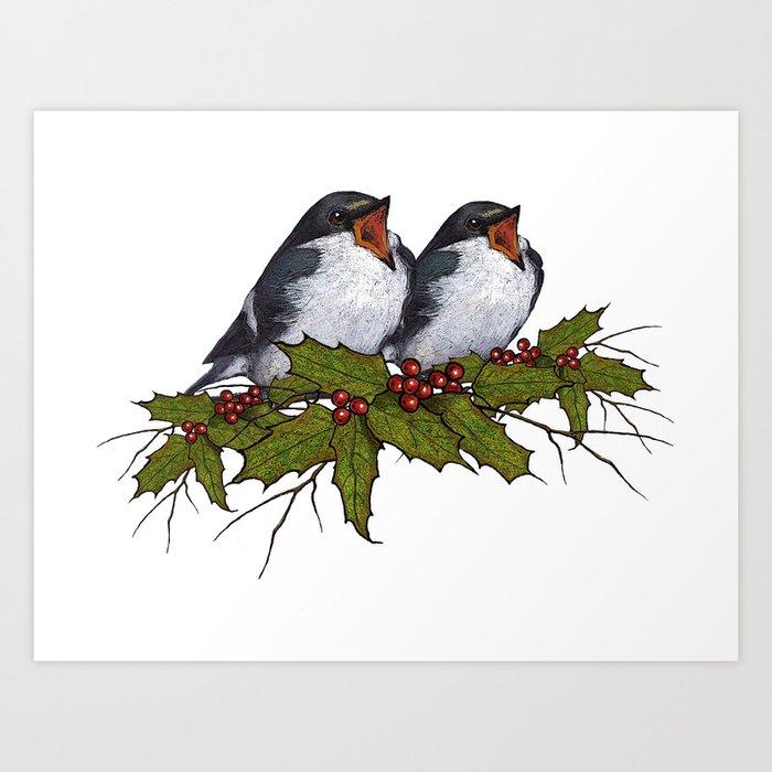Christmas Leaves.Christmas Illustration Singing Birds With Holly Leaves Twigs Art Print By Joyart