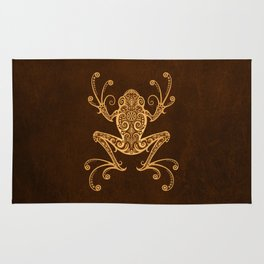 Intricate Golden Brown Tree Frog Rug
