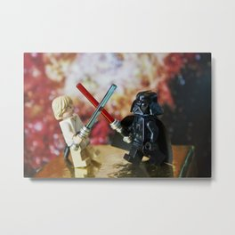 Darth Vader and Luke Skywalker lego characters fighting with their lightsabers Metal Print