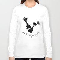 feminism Long Sleeve T-shirts featuring Chess Cats - Feminism by La Gata Venenosa