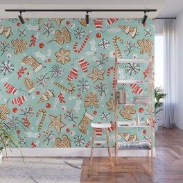 Gingerbread Dreams - Aqua Wall Mural