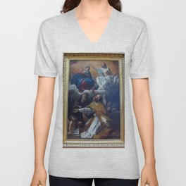 Giovanni Lanfranco - Coronation of the Virgin with St Augustine and St William of Aquitaine Unisex V-Neck