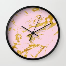 Luxury and glamorous gold glitter on lovely girly pink marble Wall Clock