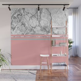 Marble & Solid: Grey + Pink Wall Mural