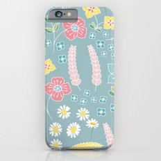 Mixed floral pattern on blue- homedec iPhone 6s Slim Case