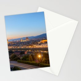 FLORENCE ITALY AT NIGHT CITY LIGHTS ITALIAN TOWN Stationery Cards