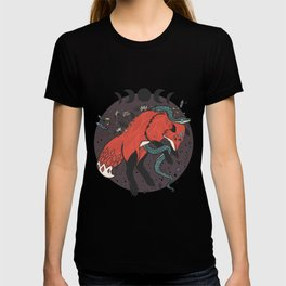 Jumping Fox With Snake, Gemstones, Moon Phases, And Witch Design Elements T-shirt
