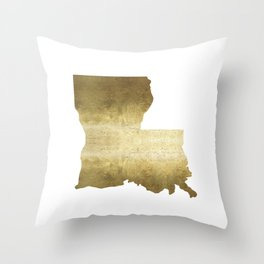 louisiana gold foil state map Throw Pillow