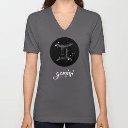 Gemini Zodiac Watercolor Unisex V-Neck