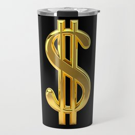 Gold Dollar Sign Black Background Travel Mug