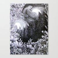 sun and moon Canvas Prints featuring Sun & Moon by Isobelle Ouzman