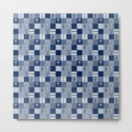 Jungle Friends Shades of Blue Cheater Quilt Metal Print