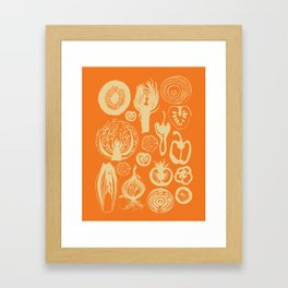 Adorned Fruit and Vegetable Box in Orange and Cream Framed Art Print