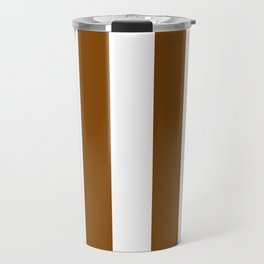 Vertical Stripes - White and Chocolate Brown Travel Mug