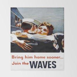 Vintage poster - Waves Throw Blanket