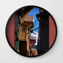 Rooftops and Sky Wall Clock