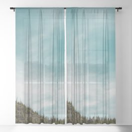 Teal Sky Forest Mountain Sheer Curtain