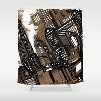 cityscape Shower Curtains featuring Cityscape by David Miley