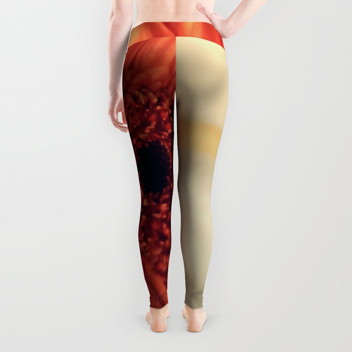Golden Sunlight Orange Gerbera Leggings
