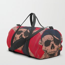 A Skull and Crossbones with a bandana and an eyepatch decorates a hot air balloon on the rise Duffle Bag