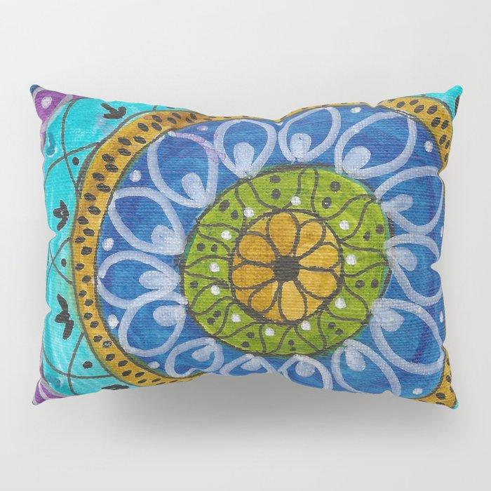 Splotch Art Mandala Turquoise Pillow Sham