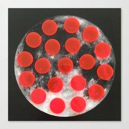 pink polka dot moon Canvas Print