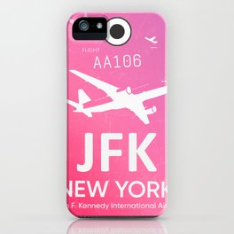 Pink JFK NEW YORK Airport code iPhone Case