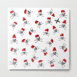 Christmas Santa Pirate Skulls on White Metal Print